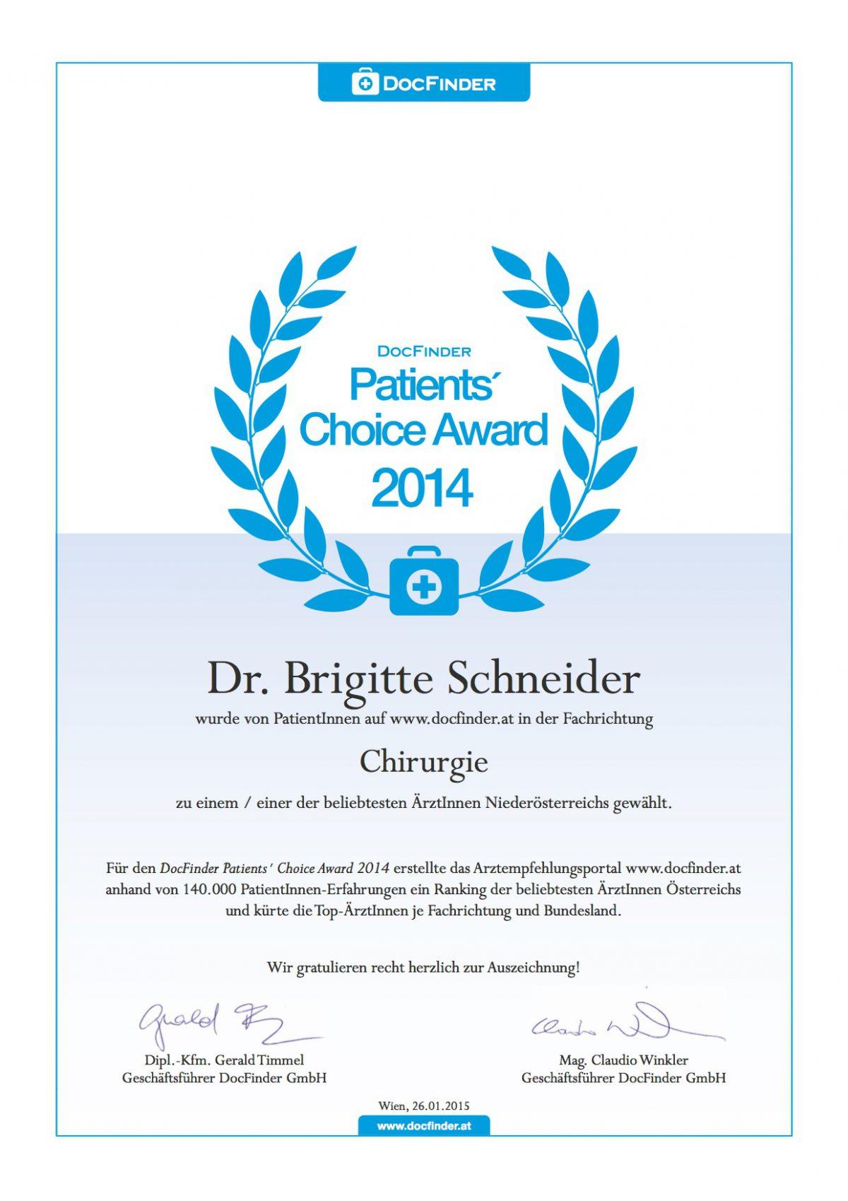 Dr. Brigitte Schneider Auszeichnung 2014