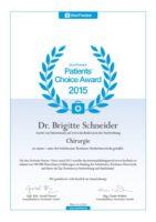 Dr. Brigitte Schneider Auszeichnung 2015